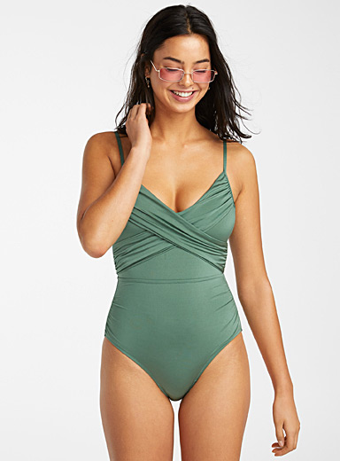 Shiny moss green one-piece