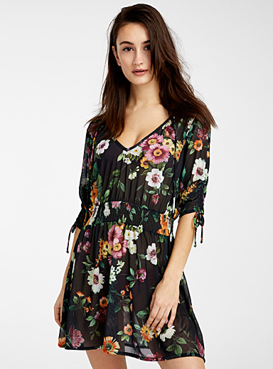 Everyday Sunday Patterned Black Sheer flower tunic for women