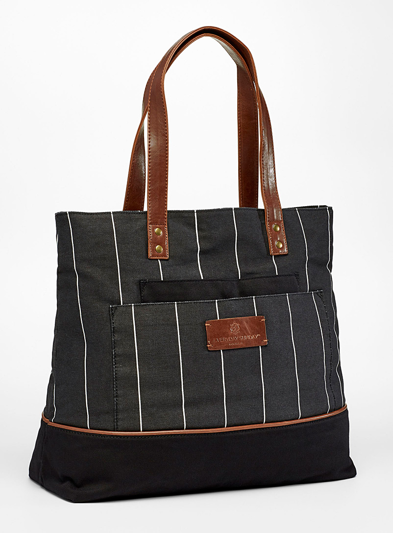 Everyday Sunday Patterned Black Cara fine stripe tote for women
