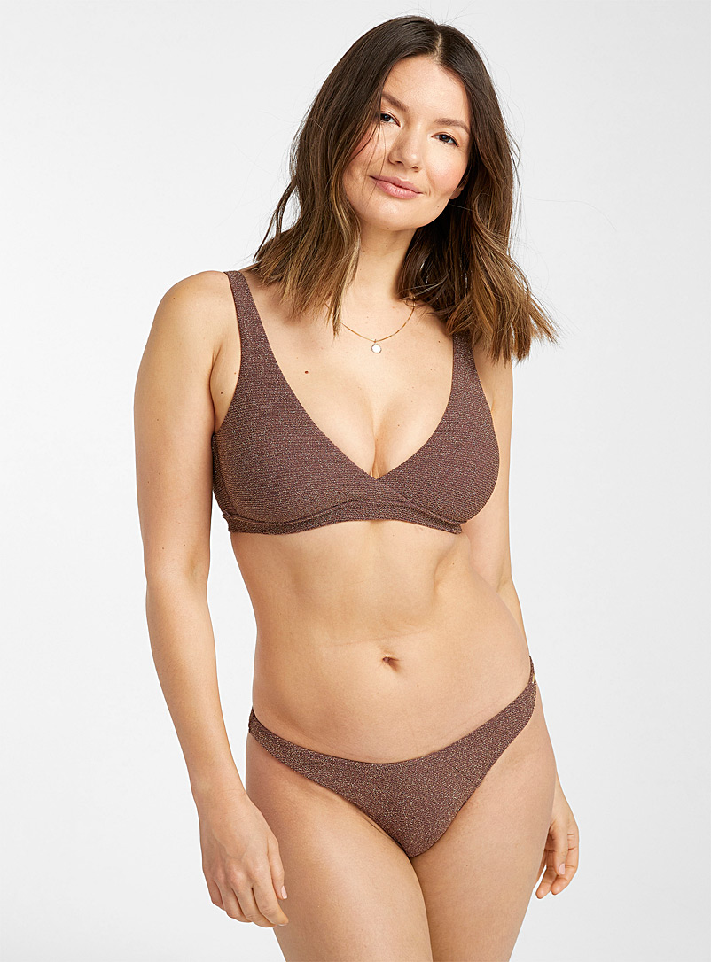 Everyday Sunday Medium Brown Metallic chestnut triangle bralette for women