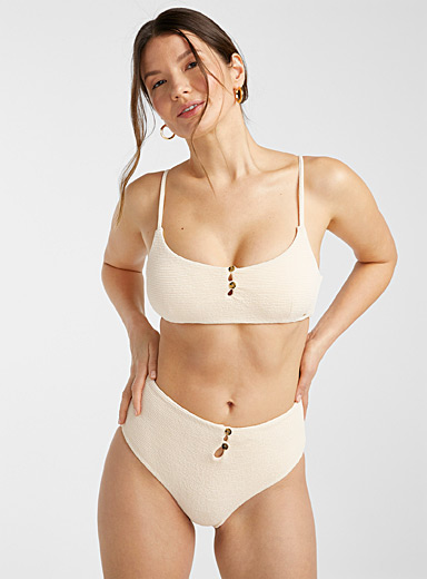 Waffled embossed button high-rise bikini bottom