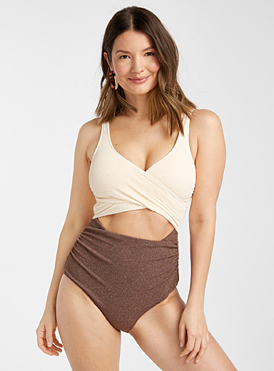Contrast tones and textures one-piece