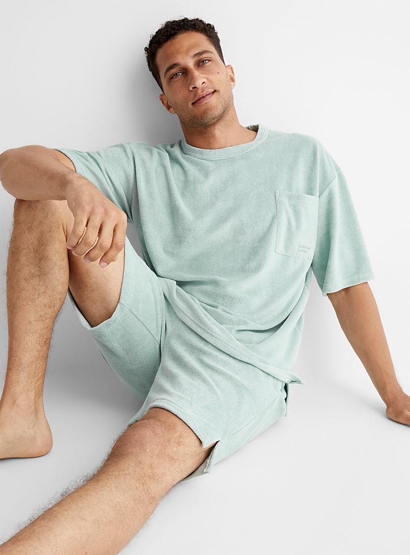 Everyday Sunday Green Terry cloth lounge T-shirt for men