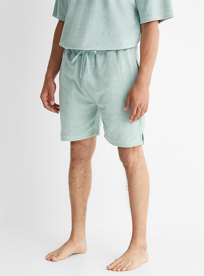 Everyday Sunday Green Terry cloth lounge Bermudas for men