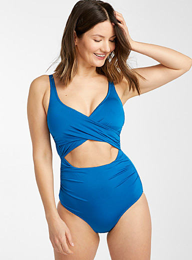 Mykonos peacock blue draped openwork one-piece