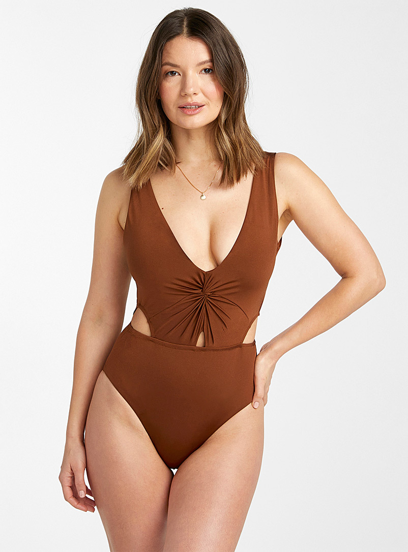 Everyday Sunday Medium Brown Knotted V-neck high-cut one-piece for women