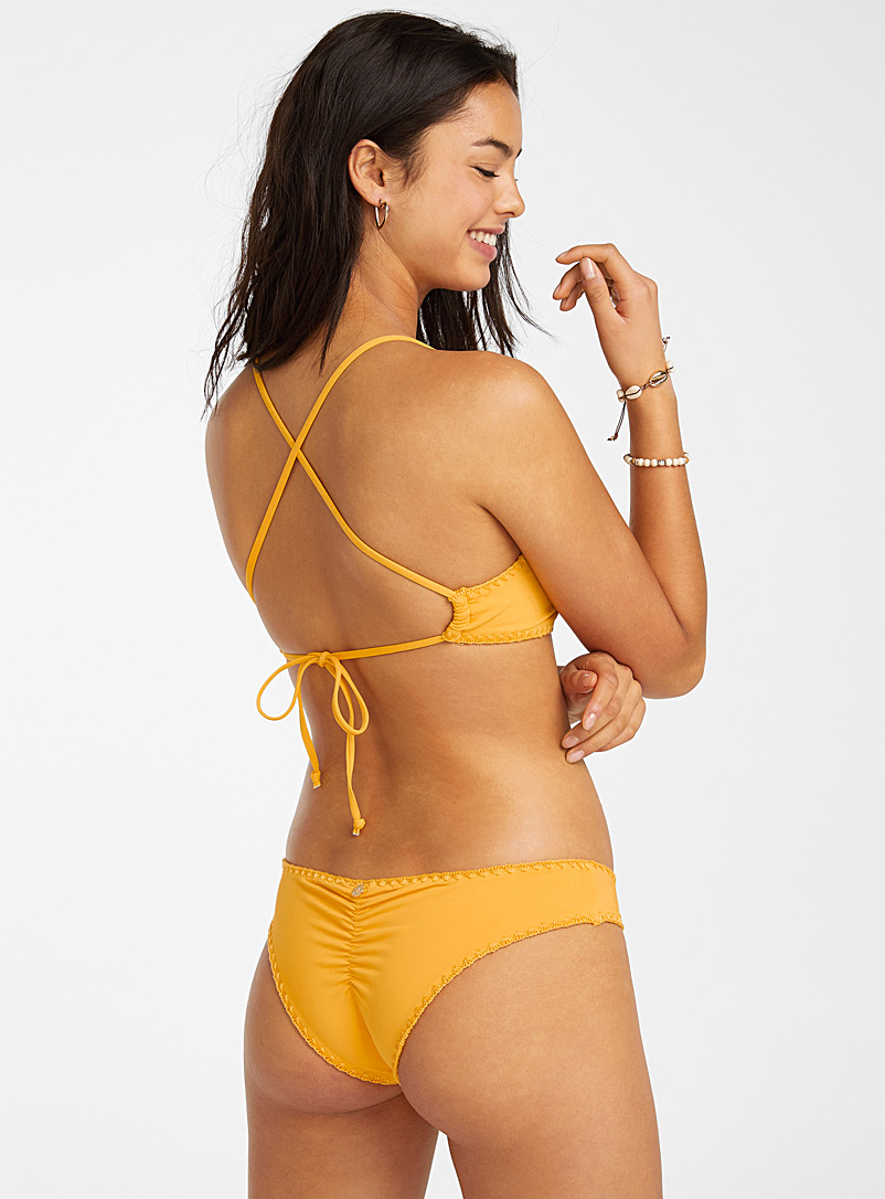 Quintsoul Dark Yellow Buttercup ruched cheeky bottom for women