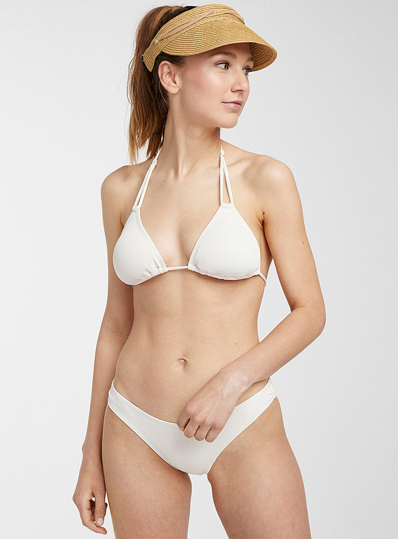 Quintsoul Ivory White Double-string mini-ribbed triangle top for women