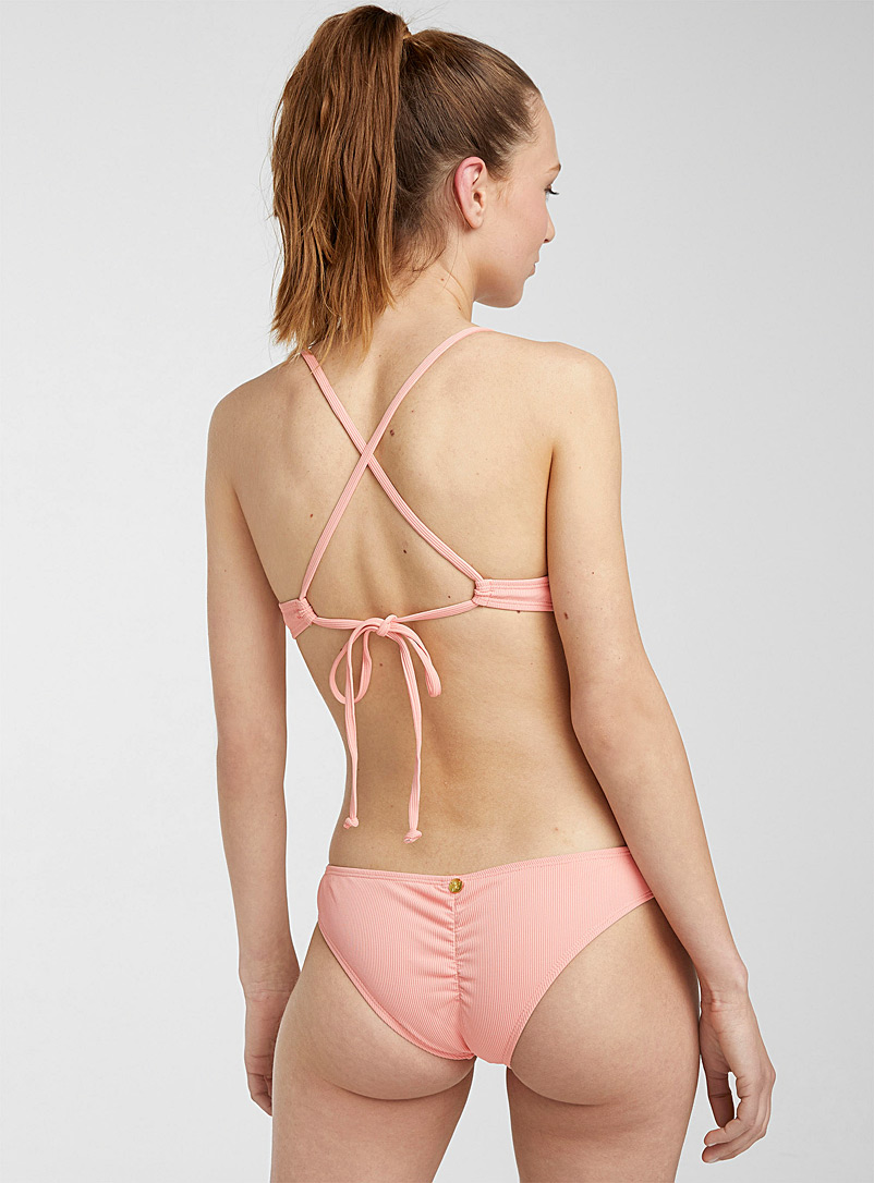 Quintsoul Peach Ribbed low-rise bikini with gathered detail for women