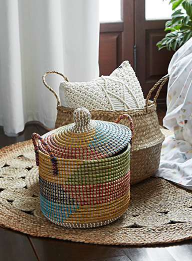 Colourful seagrass basket