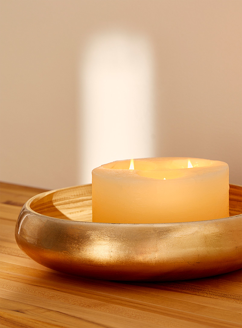 Large metallic sheen bamboo bowl
