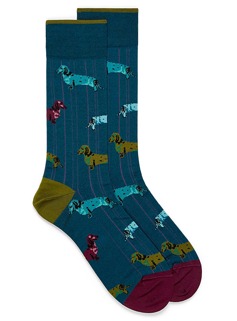 Holographic dachshund socks - Casual socks - Slate Blue