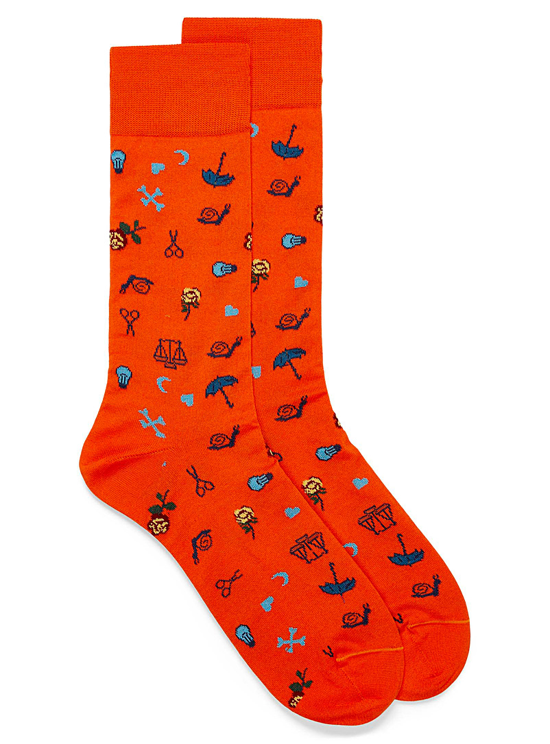 Bugatchi Patterned Orange Eclectic symbol socks for men