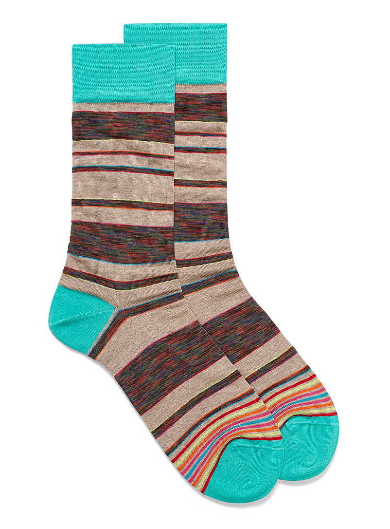 Bugatchi Patterned Brown Space-dye block dress socks for men