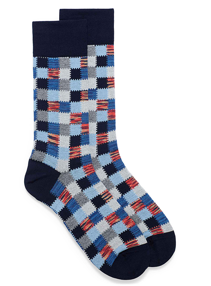 Patchwork check socks
