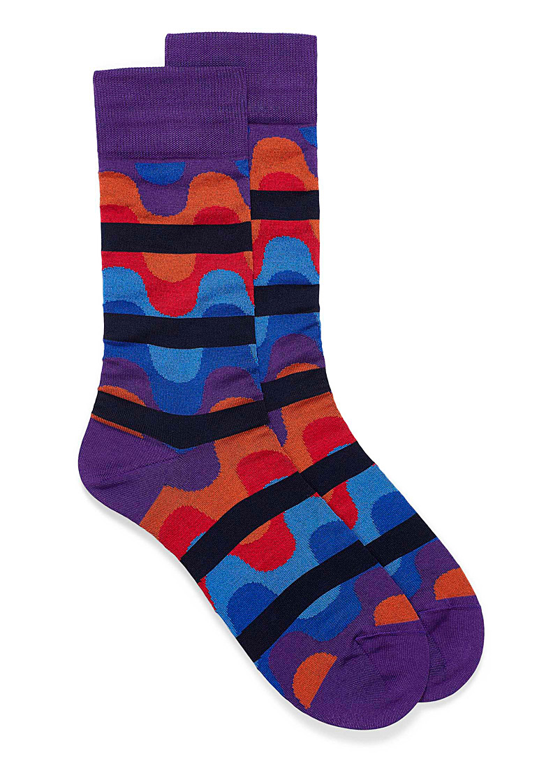 Bugatchi Patterned Crimson 70 stripes and wavelet socks for men