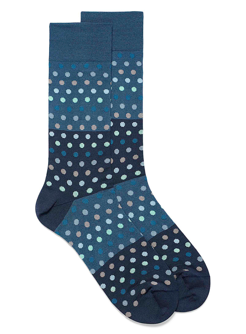 Bugatchi Patterned Blue Aquatic dot socks for men