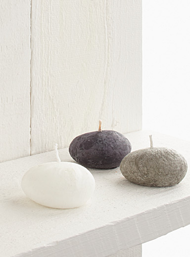 Decorative pebble votive candles <br>Set of 3