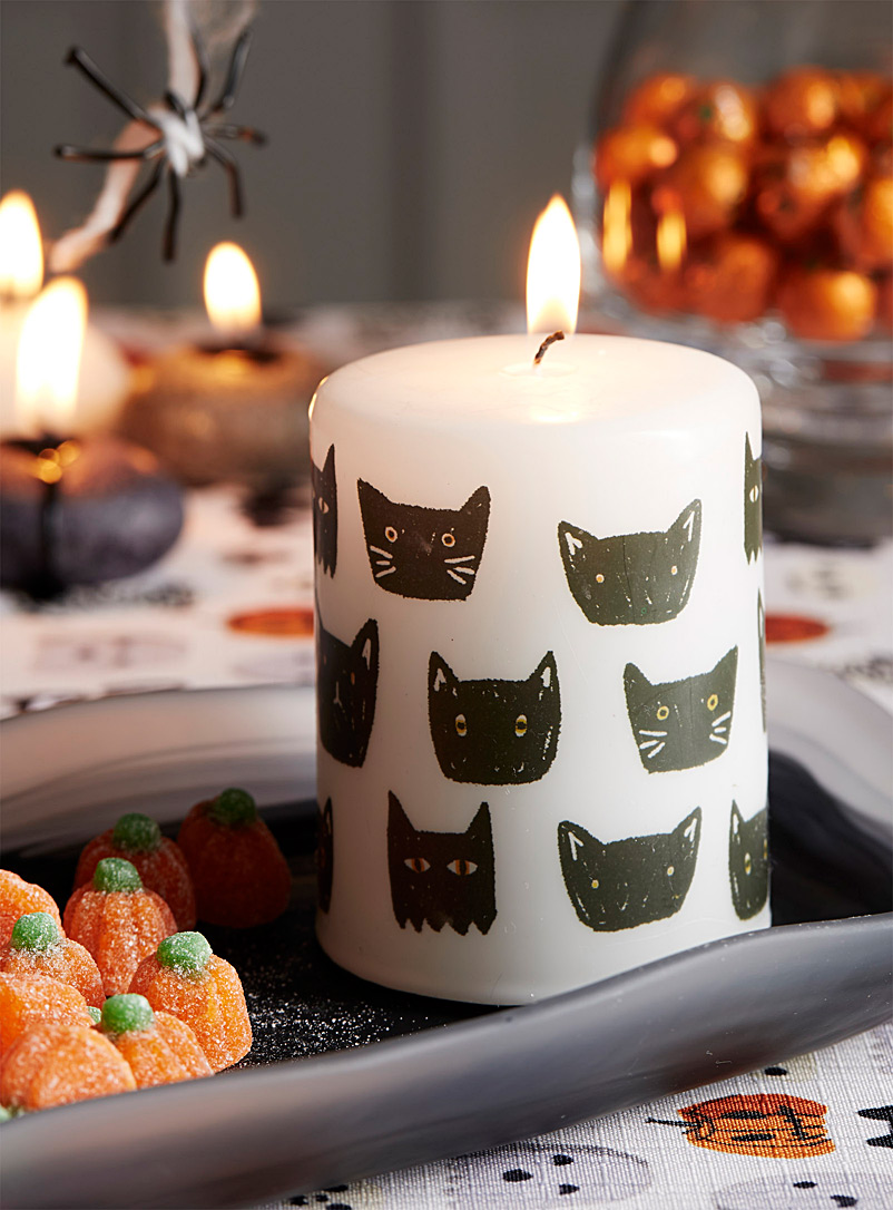 Black cat pillar candle - Ambient Lighting - Patterned White