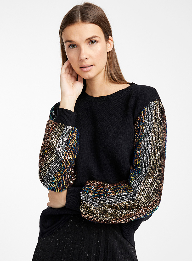sequined-sleeve-sweater