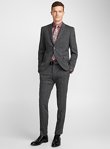 Charcoal Prince of Wales suit  London fit-Semi-slim