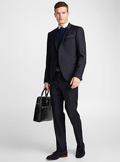 Dark gingham suit  London fit-Semi-slim