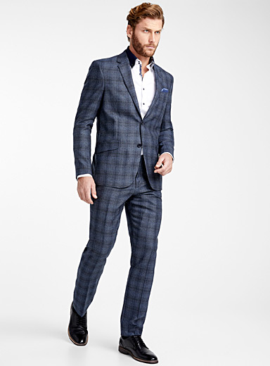 Heather blue check suit <br>Berlin fit-Regular
