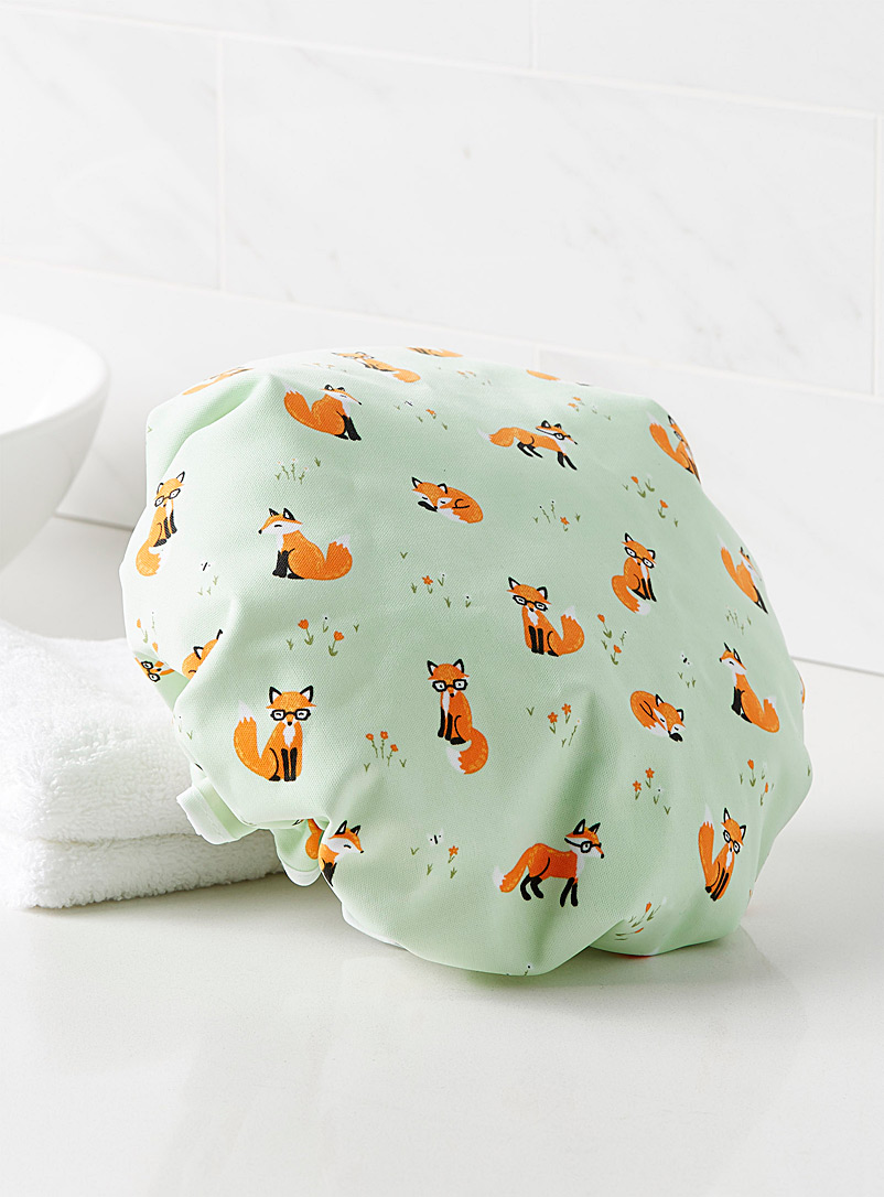 Nerdy foxes shower cap