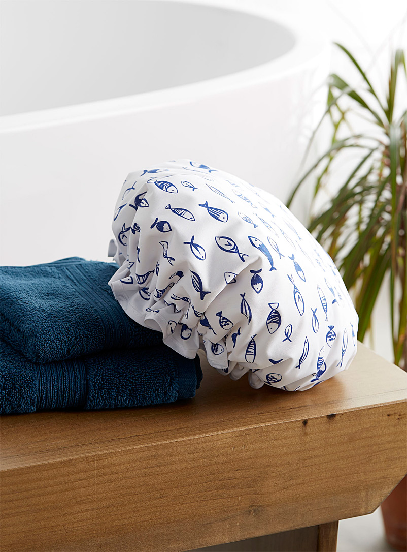 Simons Maison Dark Blue School of fish shower cap
