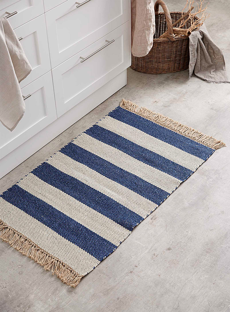 Simons Maison Patterned Blue Seaside stripe reversible rug  60 x 90 cm