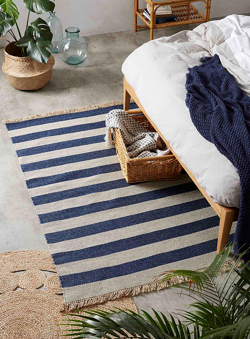 Simons Maison Patterned Blue Seaside stripe reversible rug  120 x 180 cm