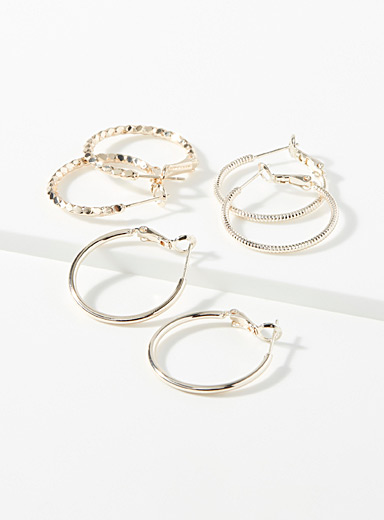 Minimalist metallic hoops  Set of 3