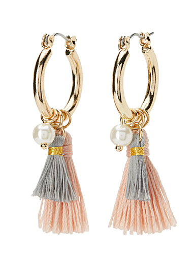 Pearl and tassel hoops