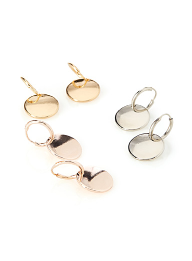 Metallic medallion hoops  Set of 3
