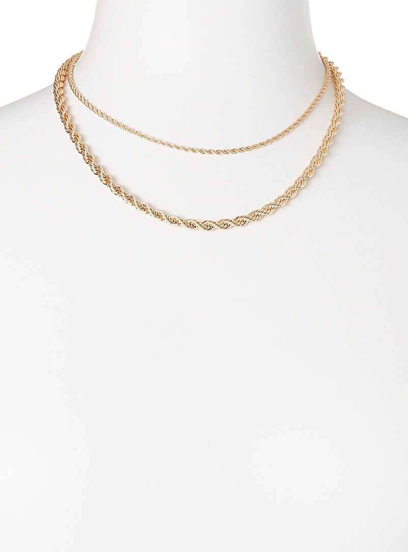 Simons Silver Double-chain necklace for women