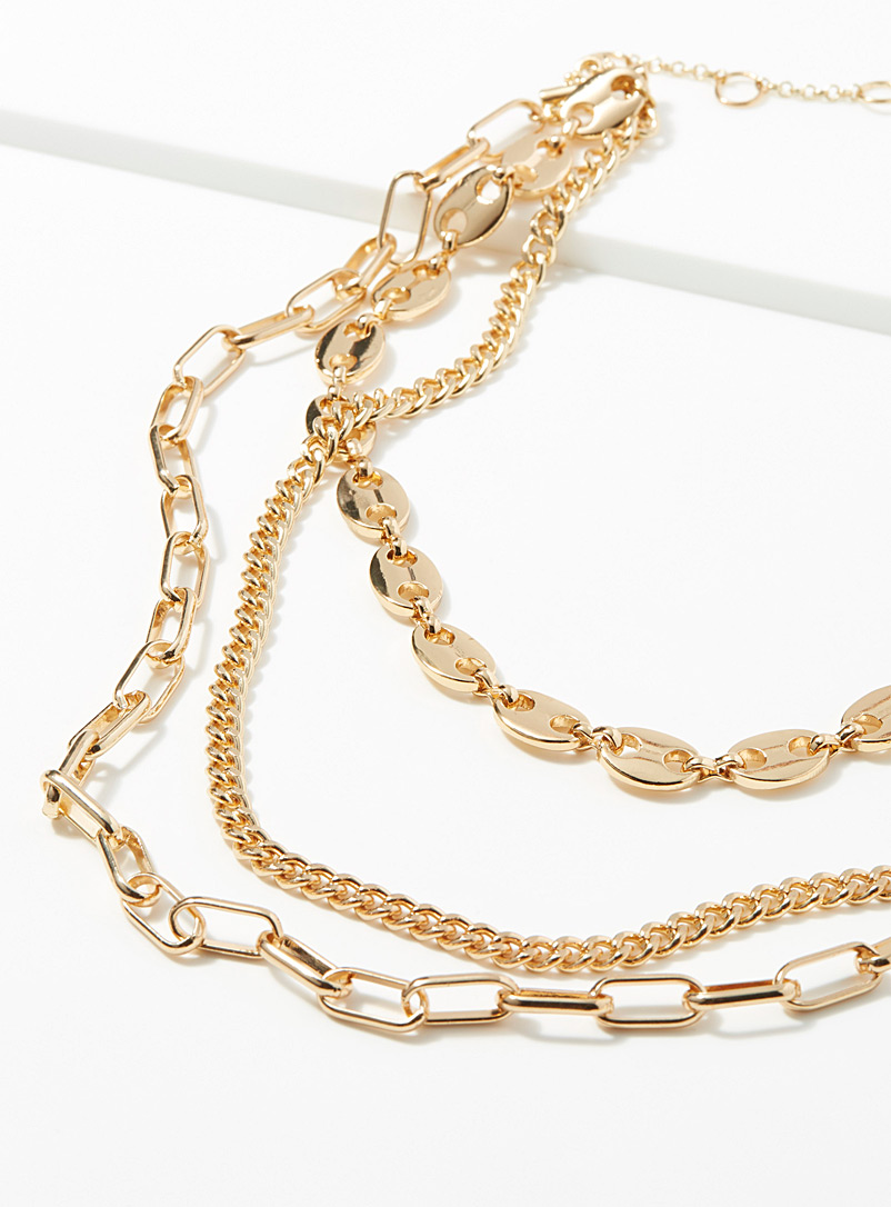 Chain trio necklace - Necklaces - Gold