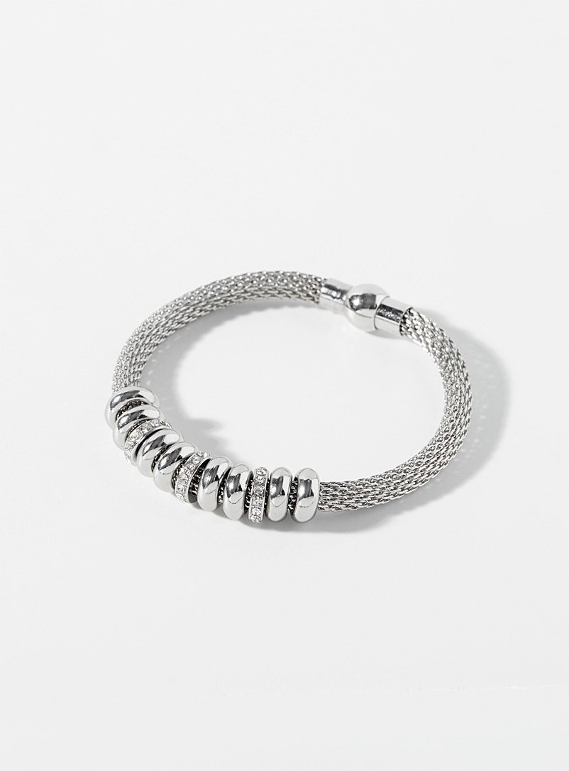 Simons Patterned Grey Chainmail bracelet for women