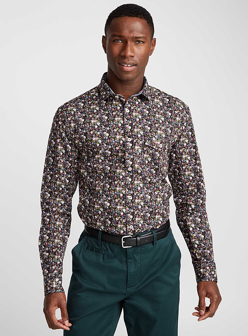 Repeating pattern shirt  Semi-tailored fit - Patterns - Black