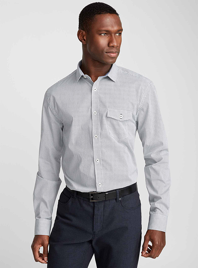 Repeating pattern shirt  Semi-tailored fit - Patterns - White