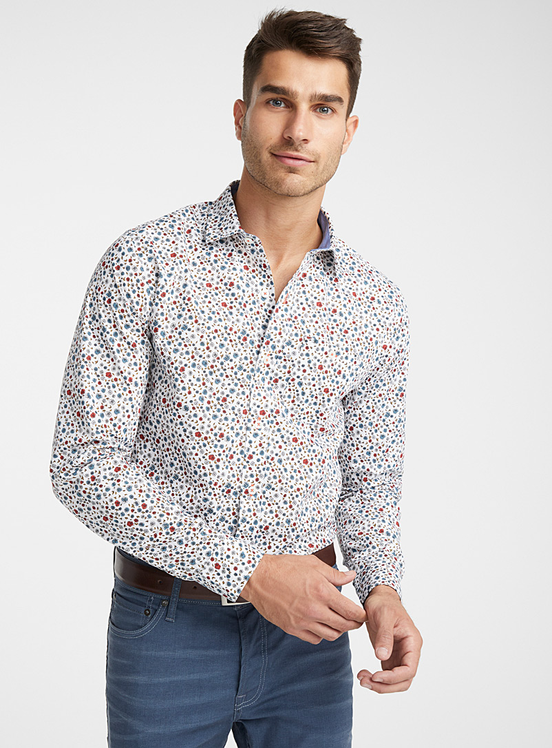 Floral wallpaper shirt  Modern fit - Patterns - Patterned White