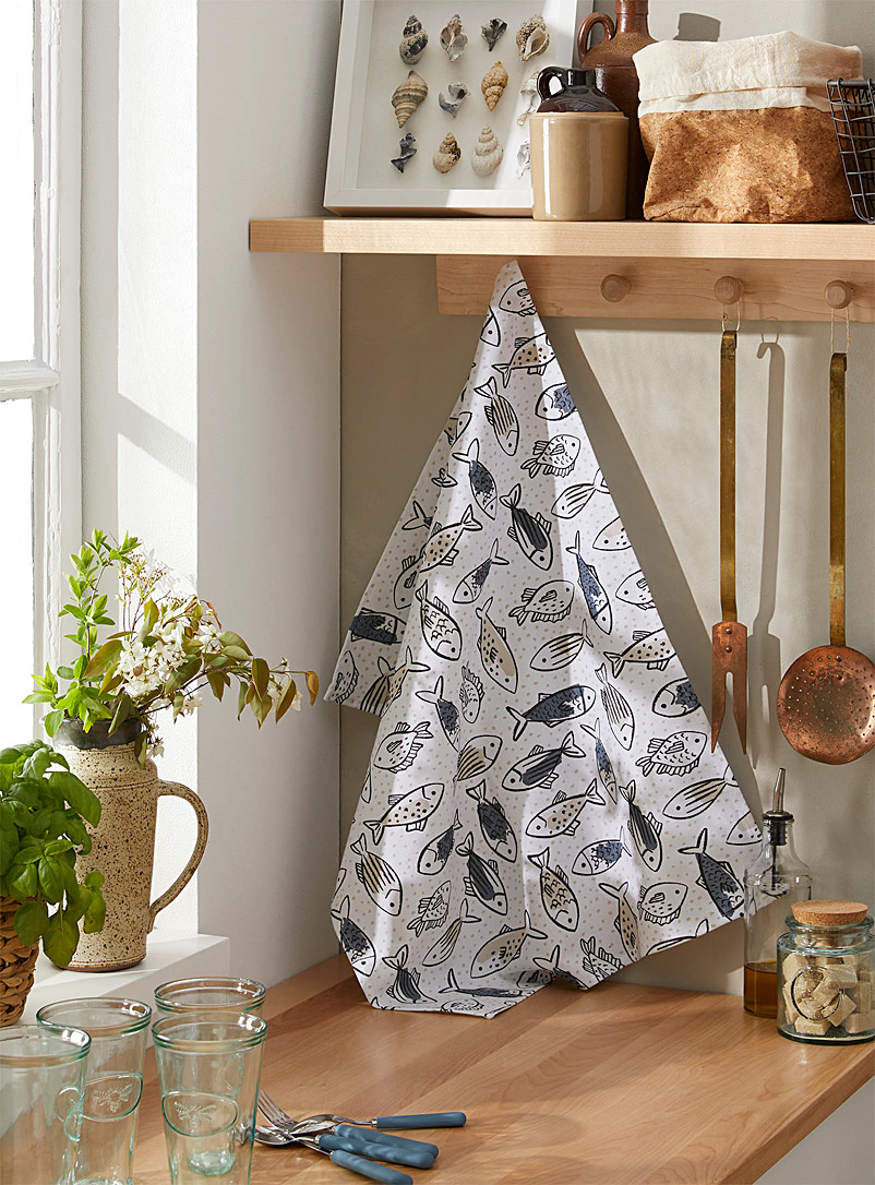Simons Maison Patterned White School of fish tea towel