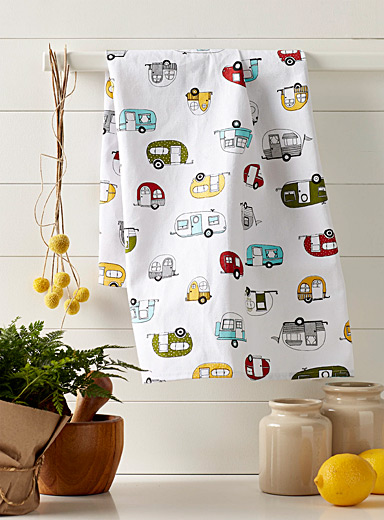 Caravan parade tea towel