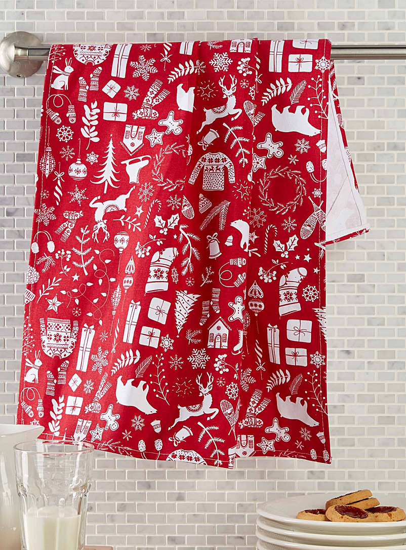Simons Maison Patterned Red Christmas vacation tea towel
