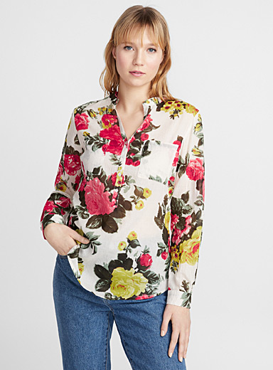 Drawn flower cotton voile blouse