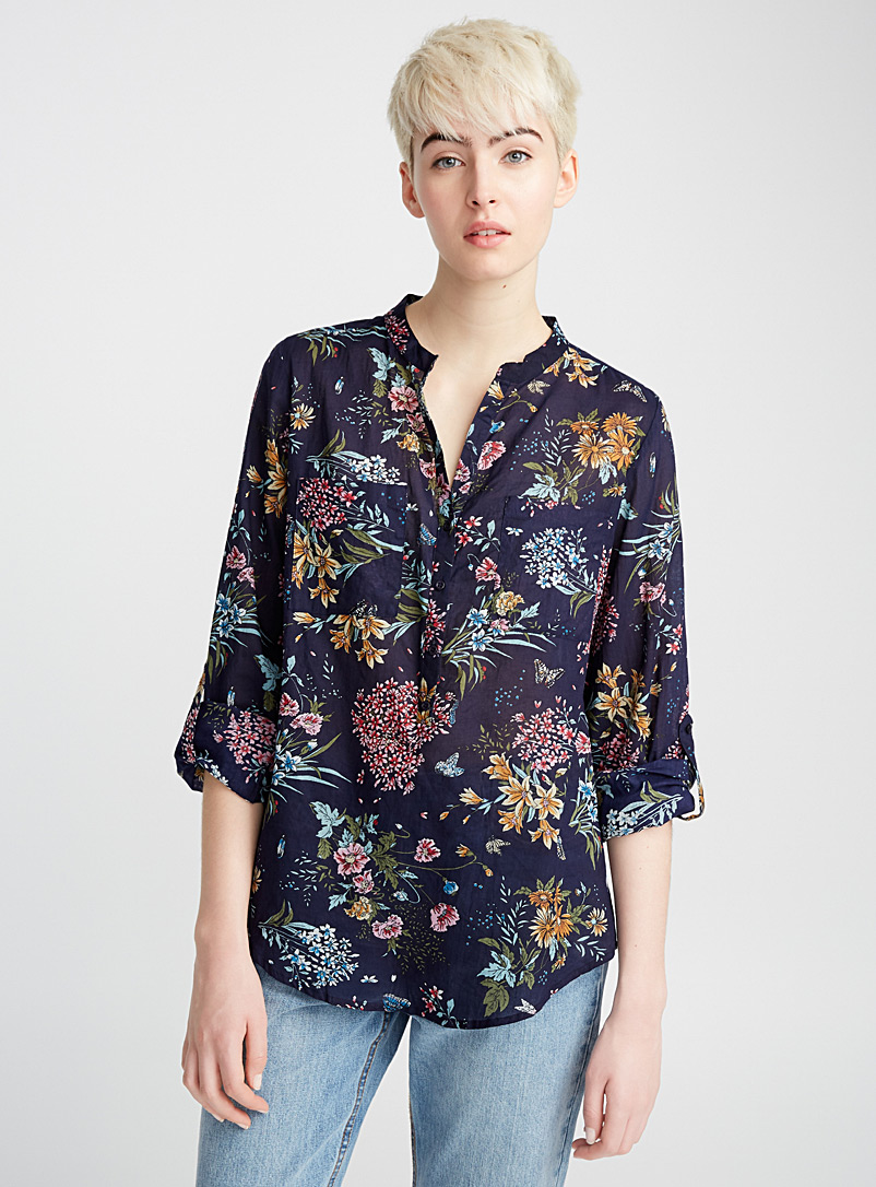 Drawn flower cotton voile blouse - Casual - Patterned Blue