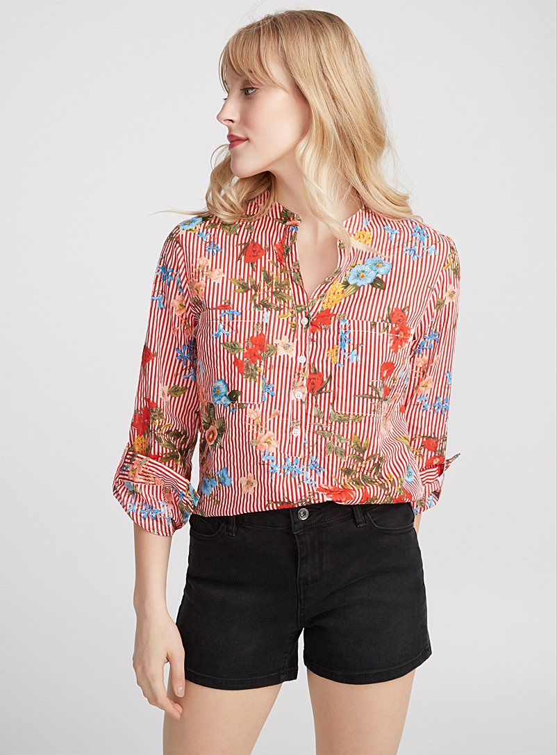 Drawn flower cotton voile blouse - Casual - Red