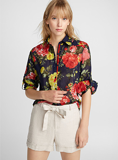 Illustrated flower cotton voile shirt