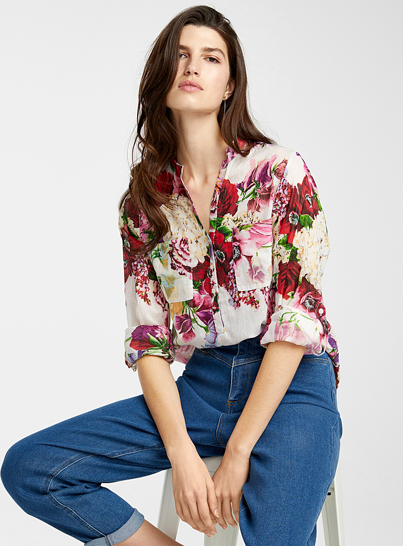 Floral rolled-sleeve blouse