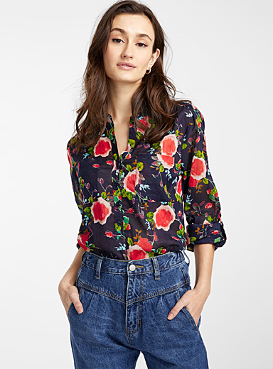 Icône Marine Blue Floral rolled-sleeve blouse for women