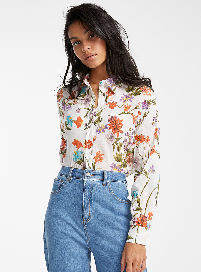 Ic?ne Patterned White Floral cotton shirt for women